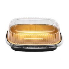 48 oz Black and Gold Aluminum Foil Take Out Pan with Clear PET Dome Lid - KYAF-TOP48-COMBO