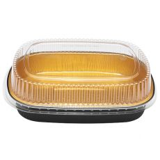 72 oz Black and Gold Aluminum Foil Take Out Pan with Clear PET Dome Lid - KYAF-TOP72-COMBO