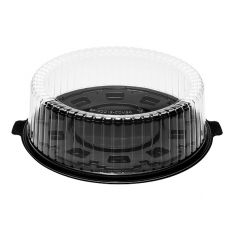 Karat 12'' PET Black Single Layer Cake Display Container with PET Clear Dome Lid , BP-CDC12-COMBO