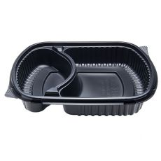Karat 36oz PP Microwaveable Black Take Out Box, 2-Compartment - 300 ct , FP-BB36-2C