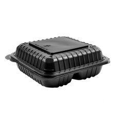 """Karat 8'' x 8"""" Black PP Hinged Containers, 3 Compartment - 250 ct , FP-HC88PP-3CB"""