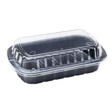Karat Half Slab Black PP Rib Container with Clear OPS Lid - 100 ct , FP-RHALF