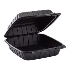"Karat Earth 8"" x 8"" Mineral Filled PP Hinged Container, 1 Compartment - Black - KE-HC88MFPP-1CB"