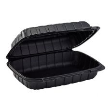 """Karat Earth 9"""" x 6"""" Mineral Filled PP Hinged Container, 1 Compartment - Black - KE-HC96MFPP-1CB"""